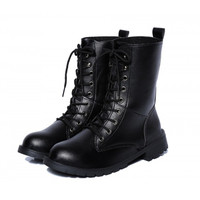 Classic Motorcycle Ankle Boots Autumn Winter Women Shoes British Style Punk Bandage Waterproof Shoes Knight Black