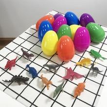 12 PCs Craft Cartoon Party Kid Model Mini Dinosaurs Easter Eggs Children Toys Animal Colorful Festival Plastic Gift Home Decor
