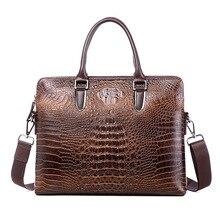 купить Best Quality Fashion Brand 100% Crocodile Grain Genuine Leather Briefcase Bag Tote Bag Business Bags Laptop Bags Free Shipping по цене 2300.43 рублей