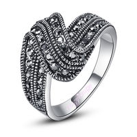 Free Shipping >> women Vintage ring black Marcasite Ring sliver tone HOT SALE jewelry