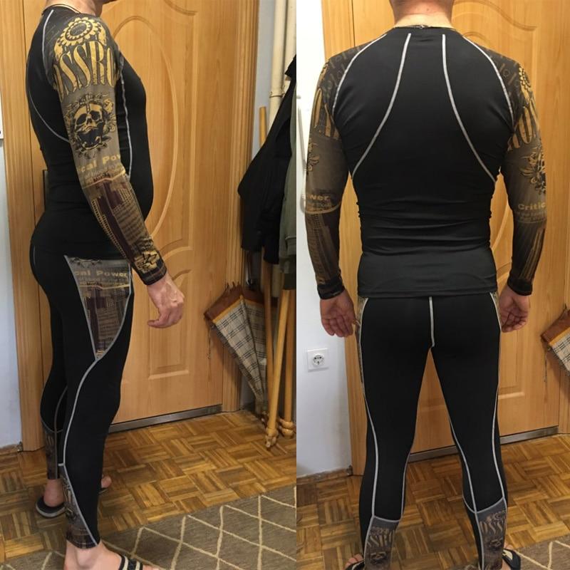 Men's Thermal Underwear Set Compression Sports Suit Track Suit Men Rash Guard Male Gym Jogging Fitness MMA Tactics Leggings Top
