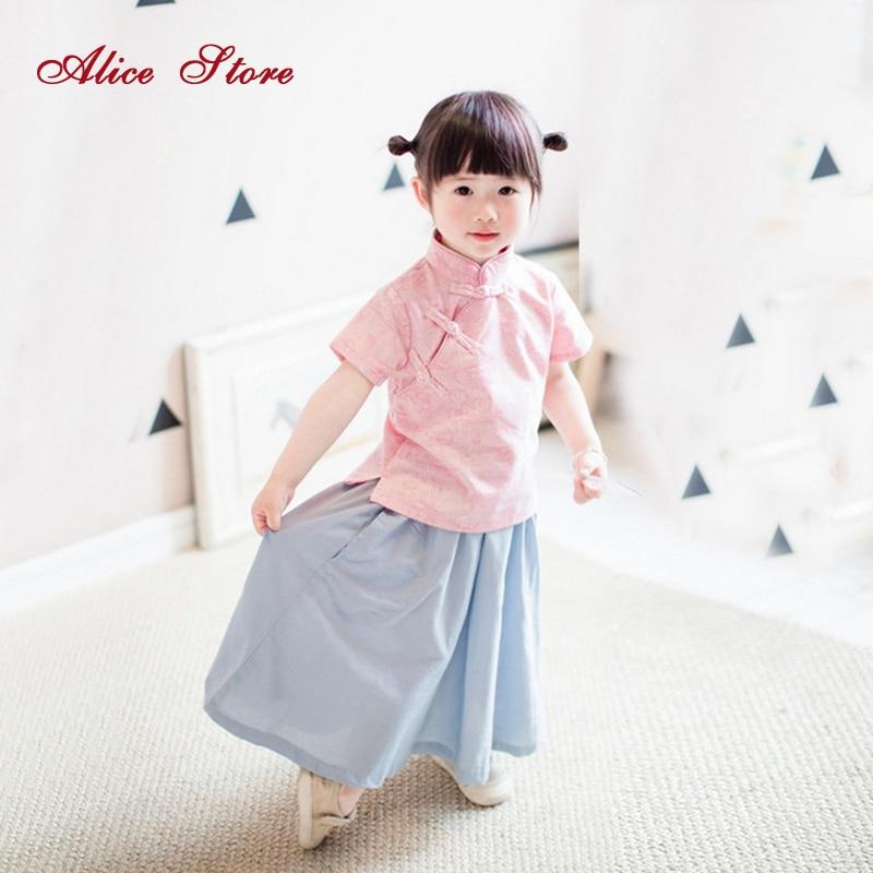 2018 nové dívky letní čínský styl oblečení soupravy dětský čínský límec límec spona top + sukně 2 ks oblek čínské oblečení