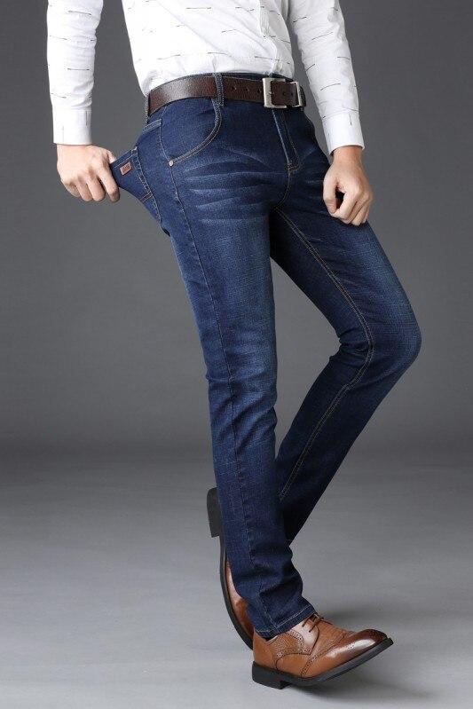 2db157fb53f 2019 Fashion Man Straight Slim Business Jeans Men Regular Stretched Denim  Pant Male Casual Quality Streetwear Spring summer Jean
