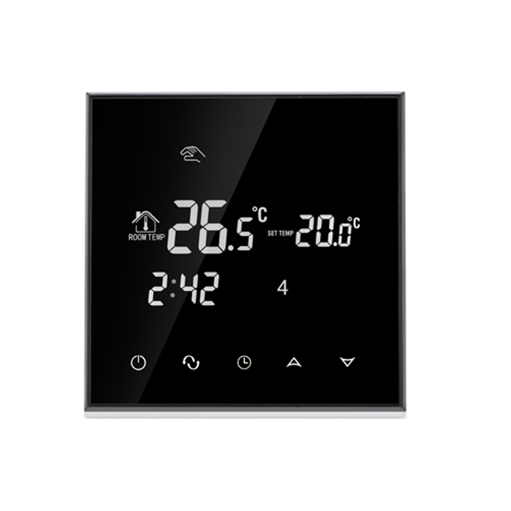 230V 110V 24VAC/DC Double sensor Programmable Touch Screen electric floor thermostat heating wiht EU acrylic material touch button double sensor thermostat with heating element