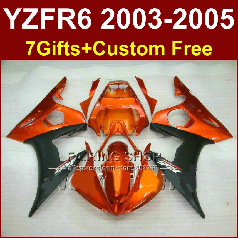 Kit de carénage de moto orange brûlé pour YAMAHA YZFR6 2003 2004 2005 kit de carénages ABS YZF R6 03 04 05 YZF1000 bodyworks JU7