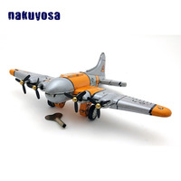 Yellow Classic Fixed Wing Airplane Tin Toys Model Wind Up Retro Nostalgic Style Toys Metal Aircraft Tin Toys For Boys Gifts