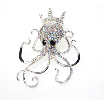 20pc/lot Hot Sale New wholesale Clear rhinestone Crystal Octopus Brooch Pin Ocean Animal Brooch Pin Jewelry