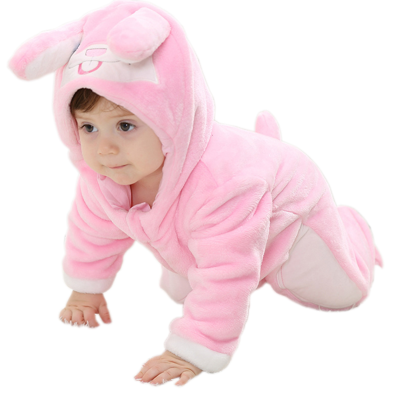Brand New 2017 Infant Romper Baby Boys Girls Jumpsuit Clothes New born Bebe Clothing Hooded Toddler Cute Stitch Free shipping