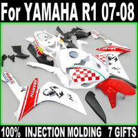 100% fit injection fairings for Yamaha YZF R1 07 08 white red fairing kit YZFR1 2007 2008 +7 free gifts BD52