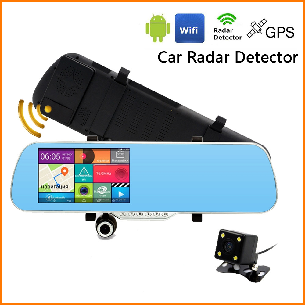 Radar Detector App >> Car DVR Radar Detector Dual Camera WIFI Recording Android Rearview mirror GPS Navigator Car ...