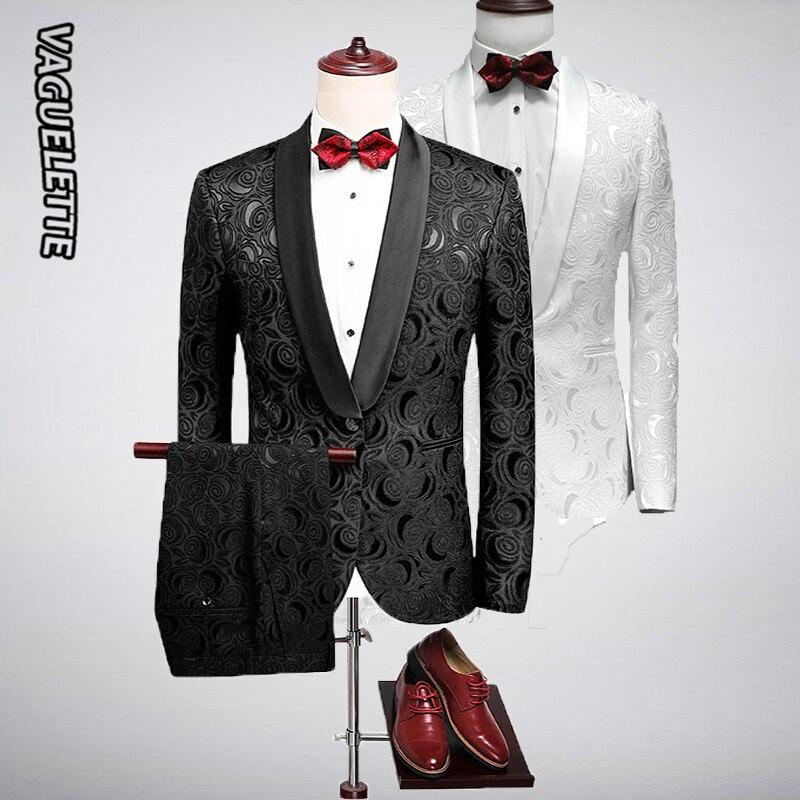 VAGUELETTE, свадебные смокинги с вышитыми розами, белые костюмы жениха, Мужская одежда для ночного клуба, для сцены, приталенный мужской вечерний