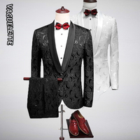 VAGUELETTE Embroidery Rose Floral Wedding Tuxedos White Groom Suits Men Night Club Stage Wear Slim Fit Mens Evening Suit M 5XL