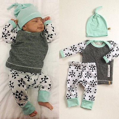 3 PCS Newborn Baby E Suit Kids Girls Boys Clothes Long Sleeve T-shirt Tops Pants Hat Outfit