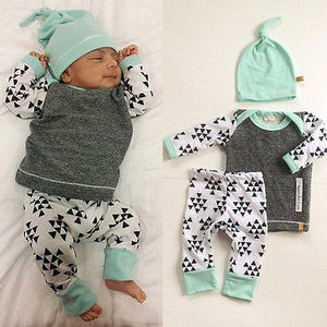 3 PCS Newborn Baby e suit kids Girls Boys Clothes Long Sleeve T-shirt Tops Pants Hat Outfit(China)