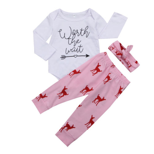 Baby Girls Jumpsuit Bodysuit Long Sleeve Pants Headbands Clothing Set Newborn Kid Baby Infant Girl Outfit Clothes Sets