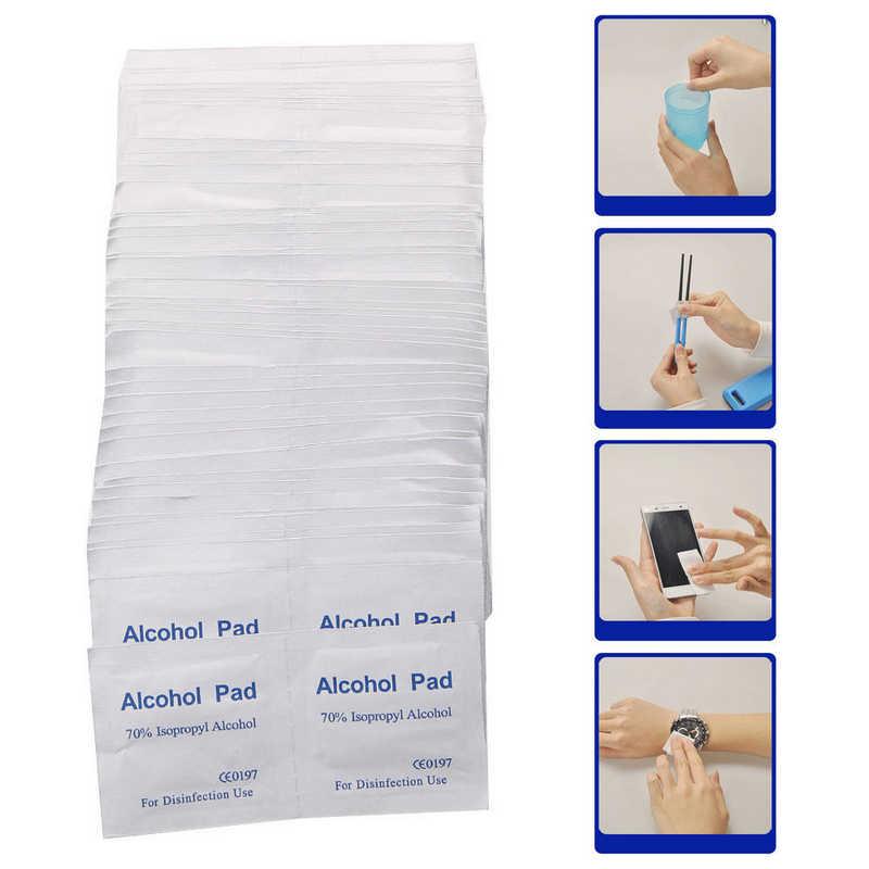 100 toallitas de hisopos de Alcohol portátil unids/caja toallitas limpiadoras antisépticas esterilización Primeros Auxilios herramienta antibacteriana de maquillaje para el hogar