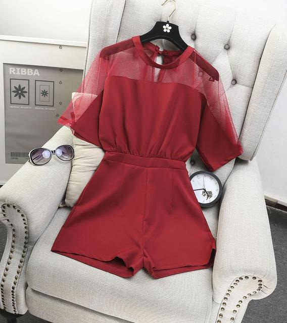 [Alphalmoda] Women Gauze Patchwork Short-sleeve Chiffon Playsuits Elastic Waist Wide Leg Shorts Female Solid Fashion Costumes