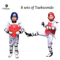 Taekwondo Protector Karate Tkd 8 piece helmet Chest tae kwon do and Ankle Sanda Boxing Match Black Belt Children hot sale