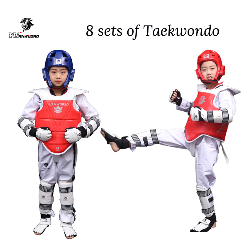 Taekwondo Protector  Karate Tkd 8 piece helmet Chest tae kwon do and Ankle Sanda Boxing Match Black Belt Children hot saleTaekwondo Protector  Karate Tkd 8 piece helmet Chest tae kwon do and Ankle Sanda Boxing Match Black Belt Children hot sale
