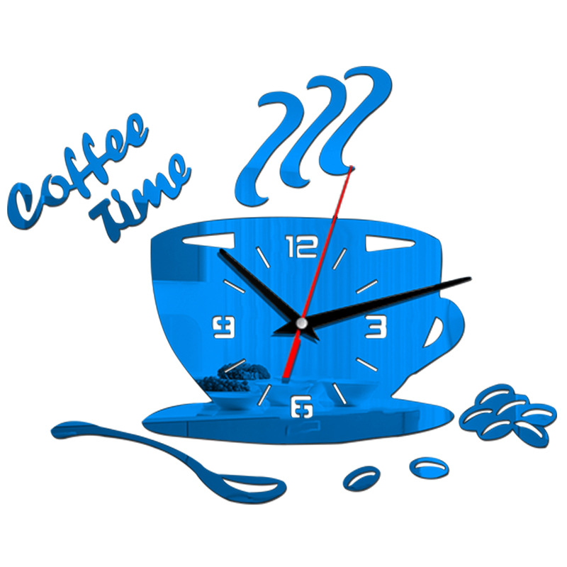 3D DIY Acrylic Wall Clock Modern Kitchen Home Decor Coffee Time Clock Cup Shape Wall Sticker Hollow Numeral Clock 6 Colors