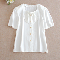 Also Subtle Sweet Girl Women Tops Summer O Neck Short Sleeve Shoulder Pads White Solid Casual