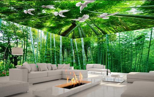 Customized zenith wallpaper murals for tv background for Bamboo forest mural wallpaper