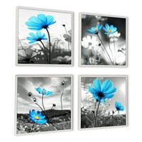 Arts Modern Salon Theme Black and White Peacock Blue Flower Abstract Painting Canvas Wall Art Home Decor