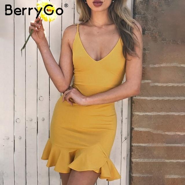e3cd67d91d45d BerryGo Sexy v neck ruffle strap mini dress women Skinny black mermaid  short dress Bodycon summer dress party vestido 2018 new