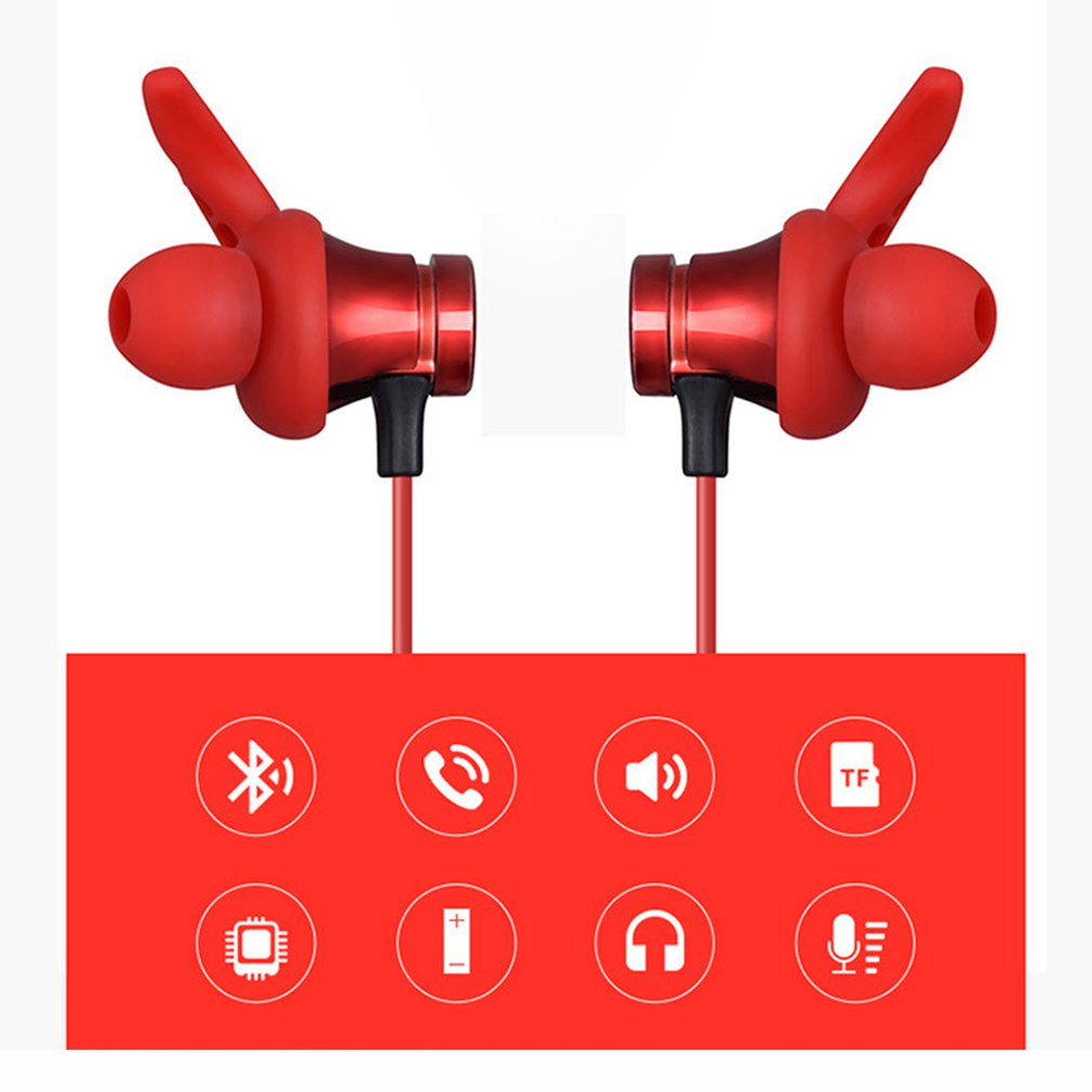 T22 Sports Wireless Bluetooth Earphone Magnetic Attraction Headset Waterproof Earphone Build in Mic Pluggable TF card in Bluetooth Earphones Headphones from Consumer Electronics