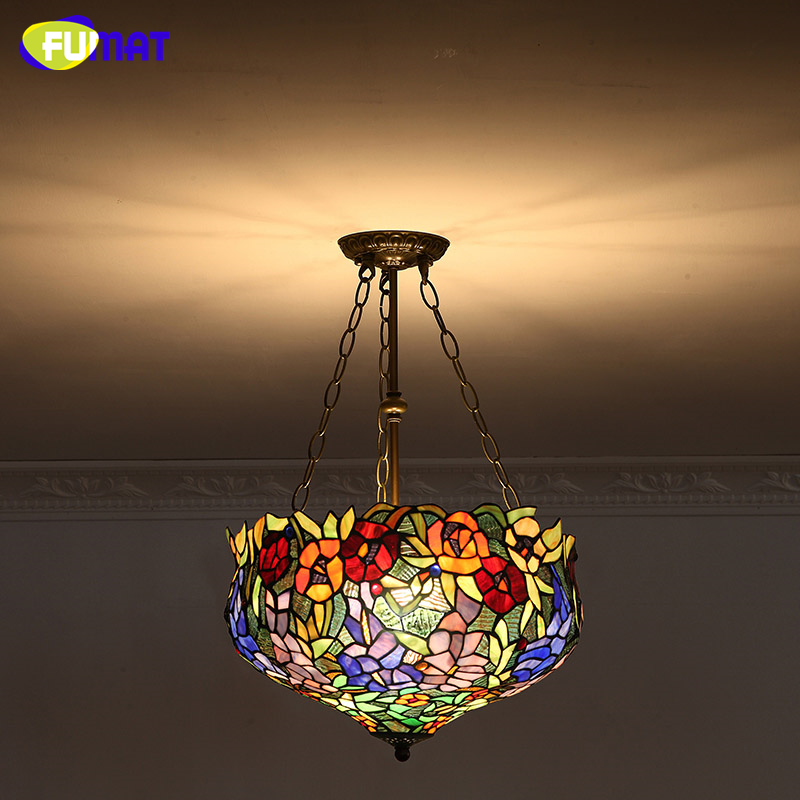 FUMAT Stained Glass Pendant Lights European Style Glass Art Lightings For Living Room Dining Room Classic Lamp Tiffany Lamparas  tiffany suspension lamp art stained glass rose lamp living room restaurant european style tiffany pendant lights