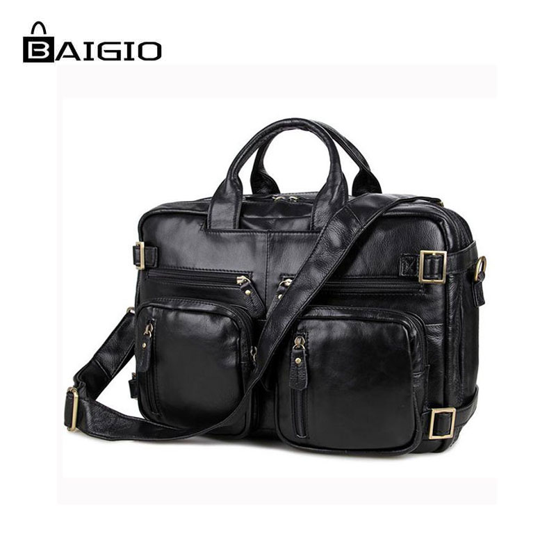 Baigio Men Briefcase 14 Laptop Bag Cases Vintage Leather Black Brand Designer Genuine Men Messenger Handbag Tote Shoulder Bags