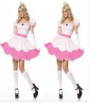 Sleeping beauty princess peach dress melocotón mujeres del traje de halloween disfraces para adultos uniforme del juego