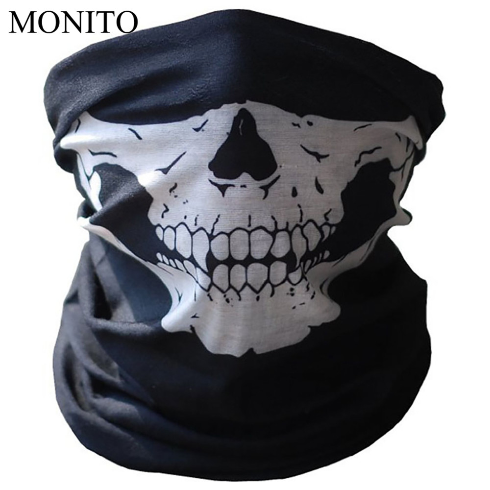 Hot Motorcycle Ghost Face Windproof Mask Outdoor Sports Warm Ski Caps Bicylce Bike Balaclavas Scarf Half Face Mask Motorbike