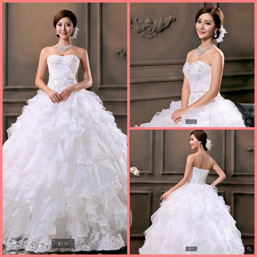 Free shipping new white ball gown ruffled wedding dress lace appliques beading pearls pleated bride gowns lovely wedding dresses