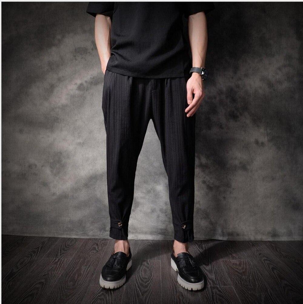 2018 Été Nouveau mince respirant lin pantalon marée hommes de mode  confortable Cheville longueur pantalon occasionnels pantalon 32cd2f349eee