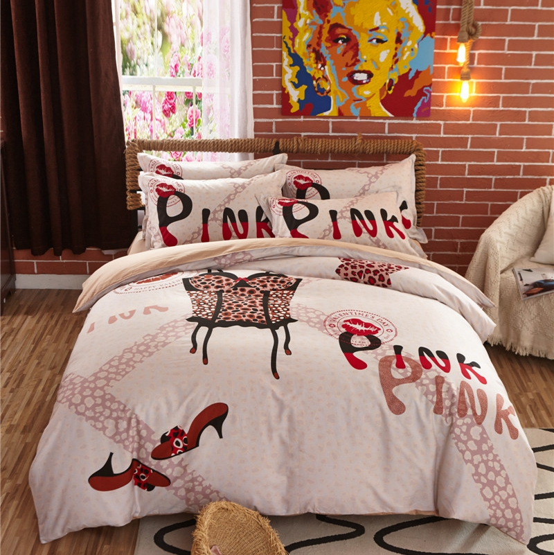Bedding sets cotton victoria PINK Leopard The Sexiest Bras print beddings and bed sets luxury bedding set duvet cover set