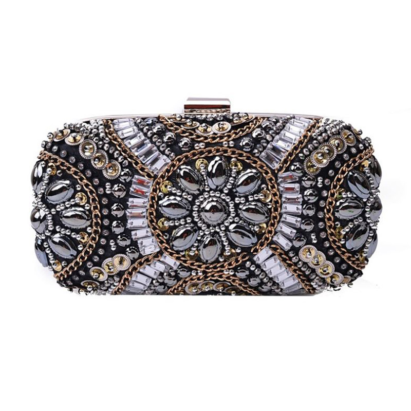 Women Crystal Evening Bags Retro Chain Women Clutch Bags Luxury Wedding Diamond Beaded Bags Rhinestone Small Party Shoulder Bags retro 2017 floral beaded handbag women shoulder bags day clutch bride rhinestone evening bags for wedding party clutches purses