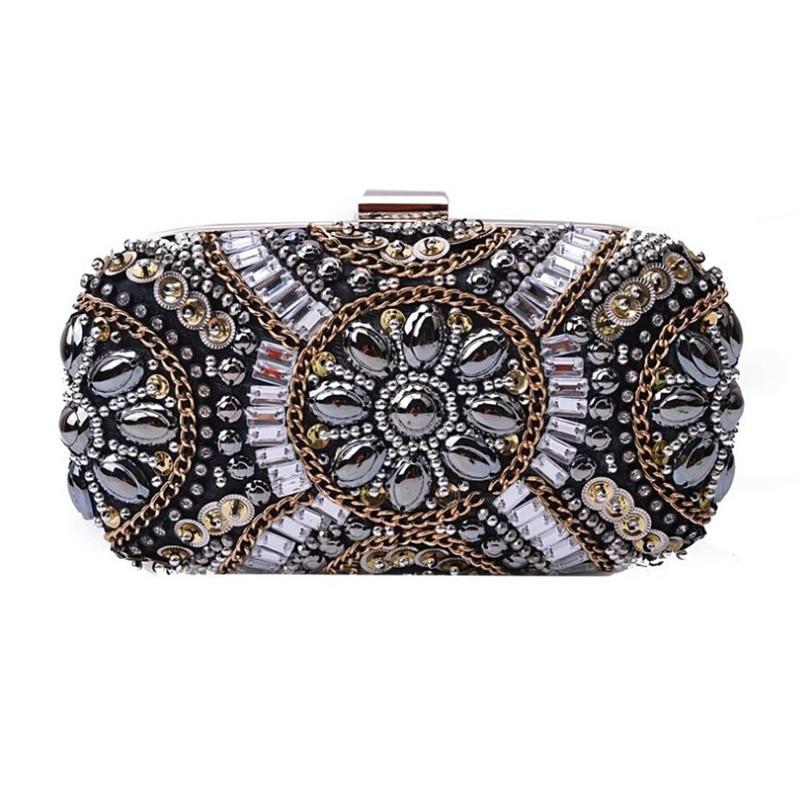 Frauen Kristall Abendtaschen Retro Kette Frauen Handtaschen Luxus - Handtaschen