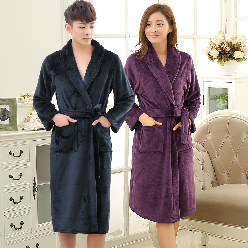 new lovers soft as silk winter warm long bathrobe men flannel kimono bath robe mens lounge coral fleece dressing gown male robes - Mens Bathrobes