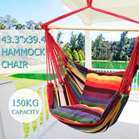 Portable Canvas Hammock Outdoor Furniture Cradle Chair Comfortable Household Hammock Chair Dormitory Hanging Chair with 2 Pillow