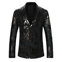 Black And Navy Blue Double Breasted Blazer Men Fashion Printing Men S Blazers And Suit Jackets