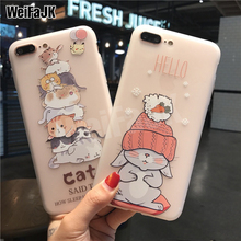 WeiFaJK Luxury Cute Silicone Case For iPhone 7 6 6s Cases Cartoon Soft TPU Cover 8 Plus X