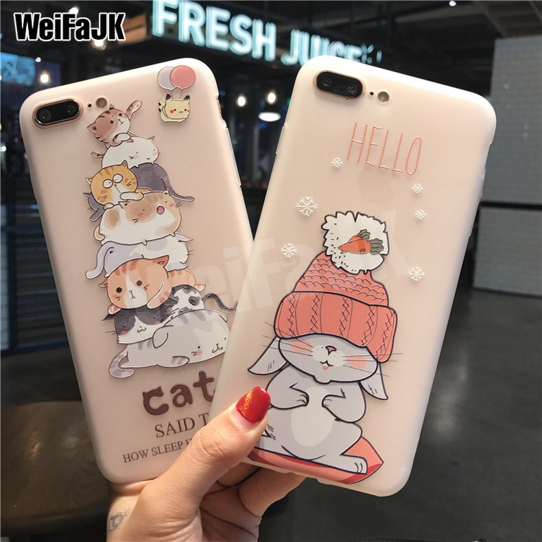 WeiFaJK Luxury Cute Silicone Case For iPhone 7 6 6s For iPhone 7 Cases Cartoon Soft TPU Cover For iPhone 6 6s 7 8 Plus X Case
