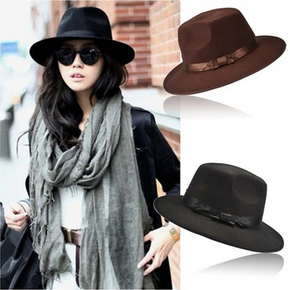 1Pcs Women Men Unisex Vintage Blower Jazz Hat Trilby Derby Cap Fedora Style  Hats Coffee Black Colors Wholesale-in Fedoras from Apparel Accessories on  ... ac04c212bd1