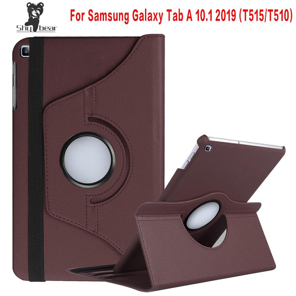 360 Caso Rotativo para Samsung Galaxy Tab 10.1 2019 T510 T515 Tampa do Suporte Estojo De Couro PU para SM-T510 SM-T515