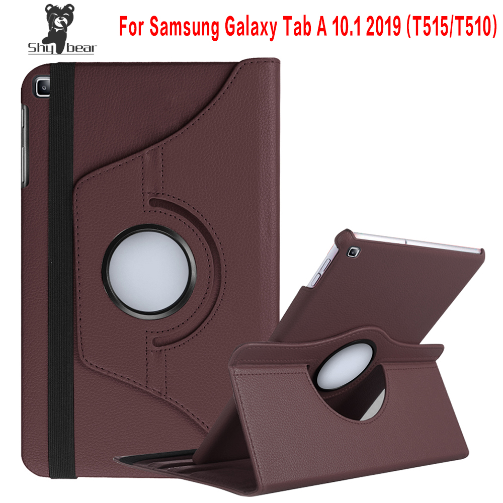 360 Rotating <font><b>Case</b></font> for Samsung Galaxy Tab A 10.1 2019 <font><b>T510</b></font> T515 Stand Cover PU Leather <font><b>Case</b></font> for <font><b>SM</b></font>-<font><b>T510</b></font> <font><b>SM</b></font>-T515 image