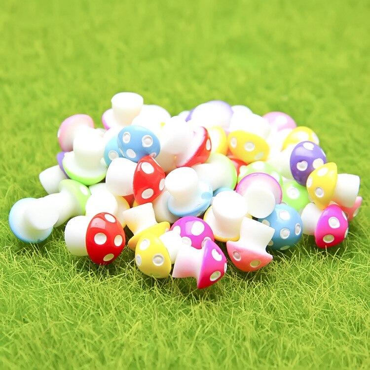 Zakka Miniature Figurine Colorful Resin Mushrooms 0.7*1 cm Cute Dolls Micro Garden Decoration Crafts Kids Gift Ornaments Tools