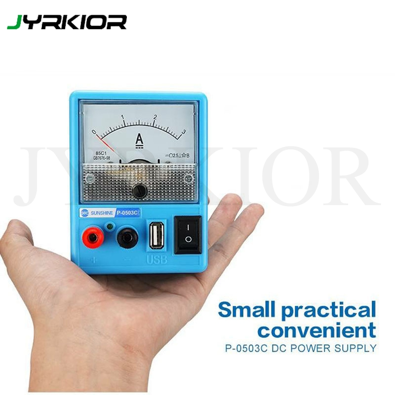 Jyrkior Mini Portable 110/220V Linear Mobile Phone Repair DC Regulated Power Supply Ammeter 3A 5V With Short Circuit Protection