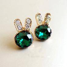 Animal Rabbit Gold Color Crystal Rhinestone Cubic Zirconia Cute Romantic Stud Earrings for Women