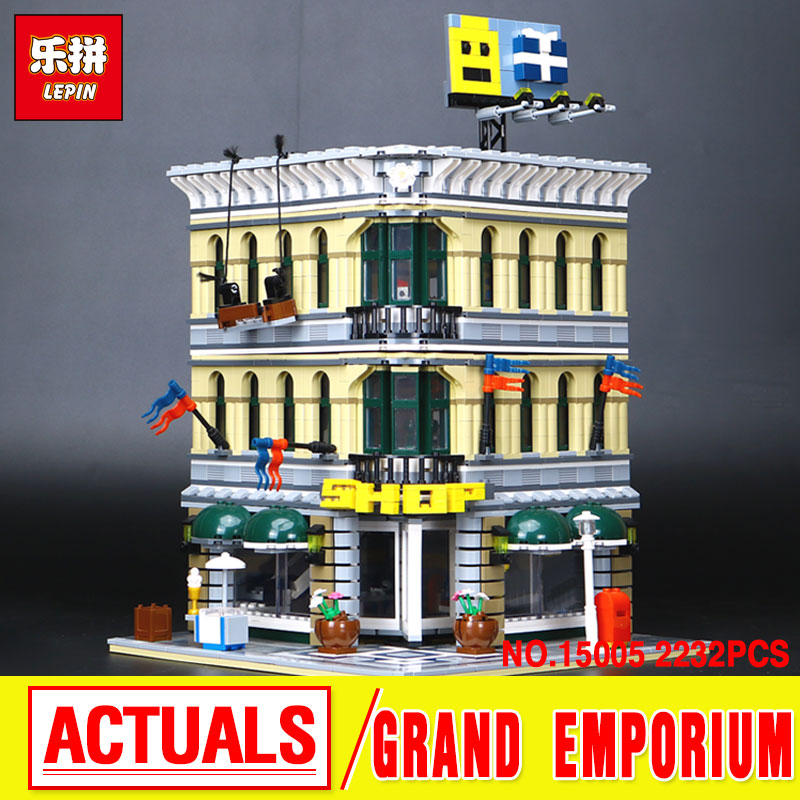 LEPIN 15005 City Street  Grand Emporium Model Building Kits  Blocks Assembling Bricks Compatible 10211 Educational Toys Gift lepin 15009 city street pet shop model building kid blocks bricks assembling toys compatible 10218 educational toy funny gift
